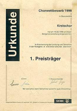 Urkunde Chorwettbewerb 1998