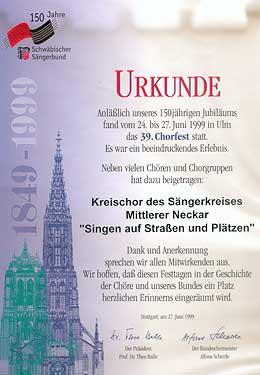 Urkunde Chorfest 1999 - Singen auf Straßen und Plätzen