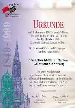 Urkunde Chorfest 1999 - Geistliches Konzert